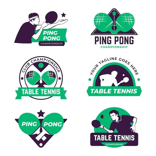 Zestaw Logo Do Tenisa Stołowego Darmowych Wektorów