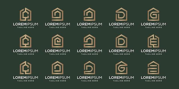 Zestaw Logo Domu W Połączeniu Z Literami C, D, G, E, Projekty Szablon. Premium Wektorów