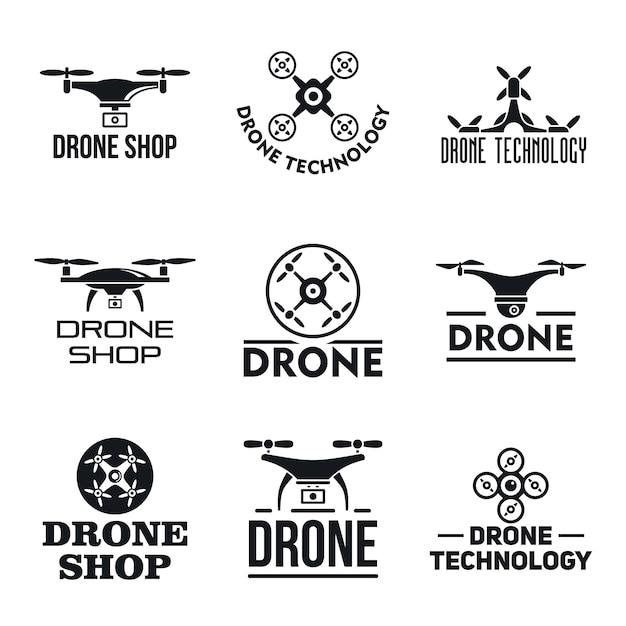Zestaw logo drone Premium Wektorów