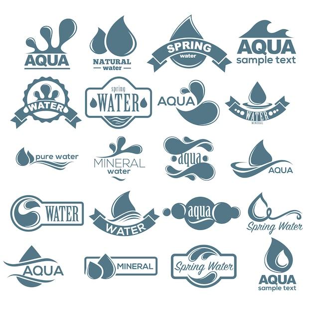 Zestaw Logo. Etykieta Na Wodę Mineralną. Kolekcja Ikon Aqua. Wektor Premium Wektorów