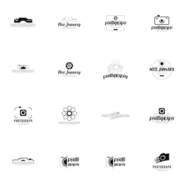 Zestaw logo fotografii Premium Wektorów