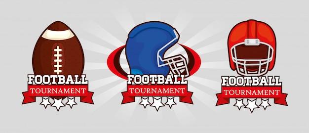 Zestaw Logo Futbolu Amerykańskiego Premium Wektorów