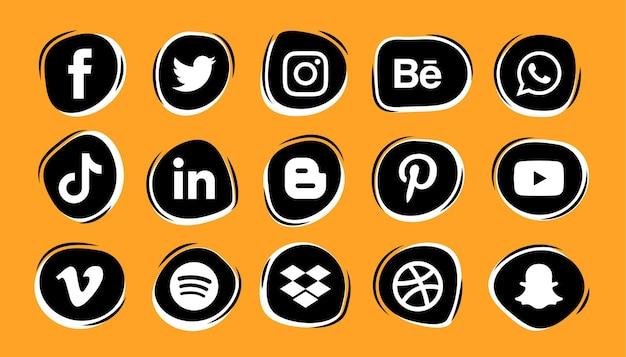 Zestaw Logo I Ikon Mediów Społecznościowych Premium Wektorów
