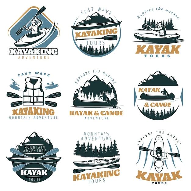 Zestaw Logo Kajaka Kajakowego Darmowych Wektorów