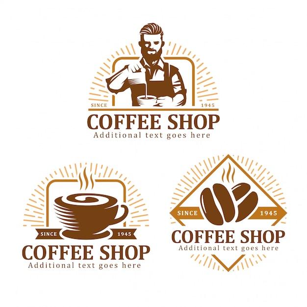 Zestaw logo kawy, znaczek etykiety kawy lub paczka godła Premium Wektorów