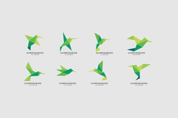 Zestaw Logo Koliber Zielony Origami Premium Wektorów