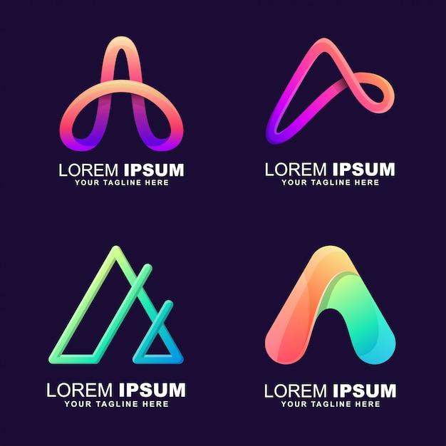 Zestaw Logo Litery A. Premium Wektorów