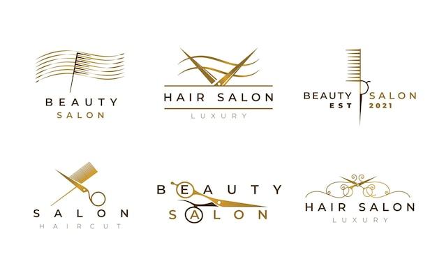 Zestaw Logo Luksusowego Salonu Fryzjerskiego Darmowych Wektorów