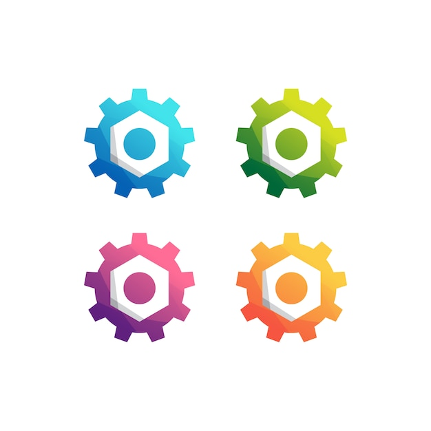 Zestaw Logo Maszyny Przekładni Premium Wektorów