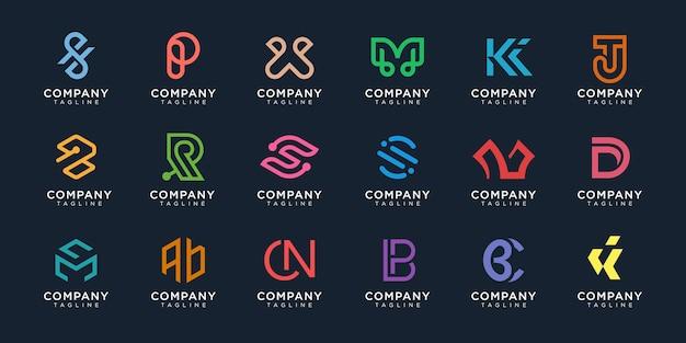 Zestaw Logo Monogram Premium Wektorów Premium Wektorów