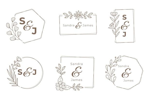 Zestaw Logo Monogram ślubu Darmowych Wektorów