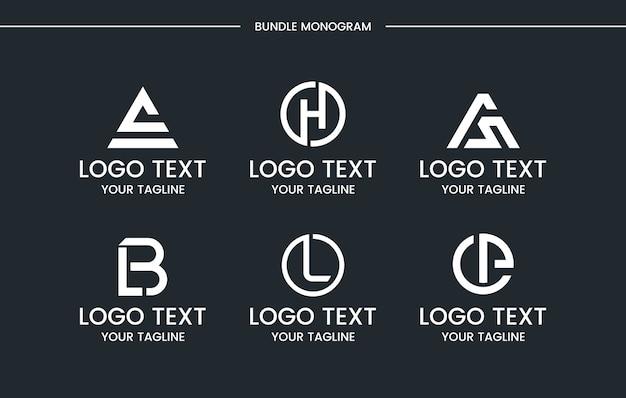 Zestaw Logo Monogram Premium Wektorów