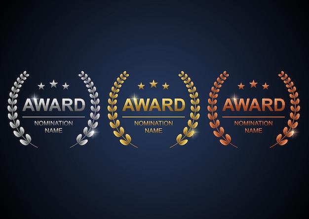 Zestaw Logo Nagród Premium Wektorów