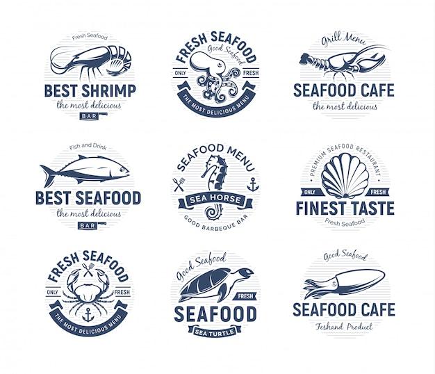 Zestaw logo owoce morza. zwierzęta morskie, emblematy rybackie lub restauracyjne. szablon logo w stylu retro. Premium Wektorów
