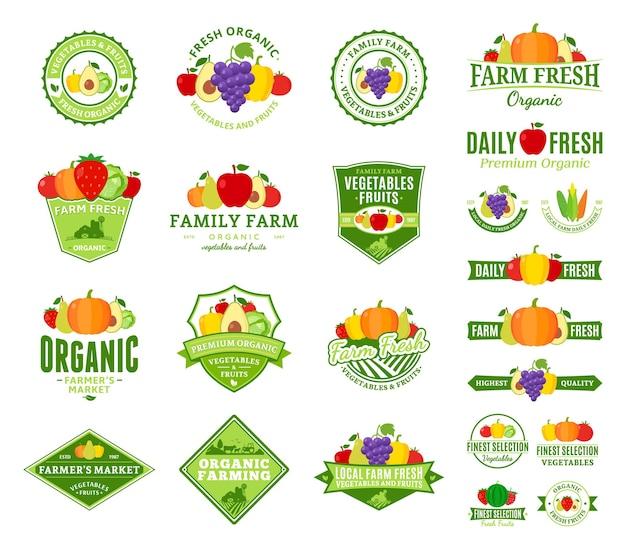 Zestaw Logo Owoców I Warzyw. Etykiety Na Owoce I Warzywa Z Przykładowym Tekstem. Premium Wektorów
