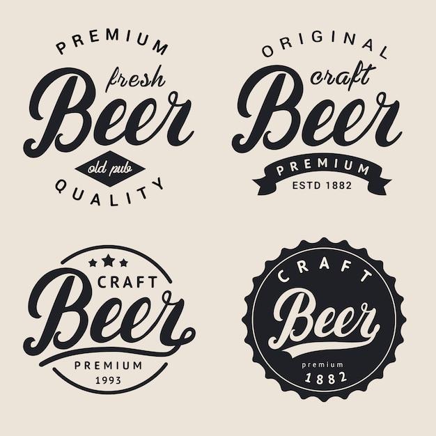 Zestaw logo piwa napis. Premium Wektorów