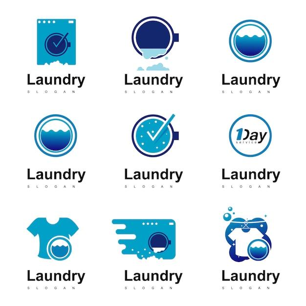 Zestaw logo pralni Premium Wektorów