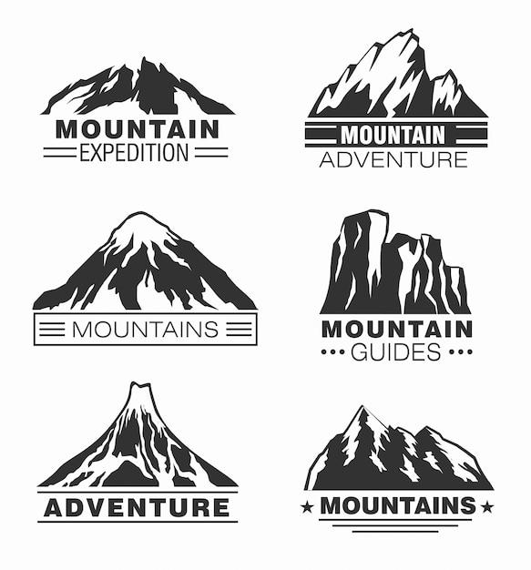 Zestaw logo przygody w górach i na zewnątrz Premium Wektorów