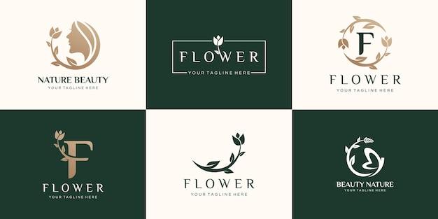 Zestaw Logo Róży Streszczenie Kwiat Premium Wektorów