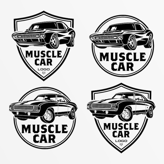 Zestaw logo samochodu mięśni, emblematów, odznak. serwisowa naprawa samochodów, renowacja samochodów i elementy projektu klubu samochodowego. wektor. Premium Wektorów