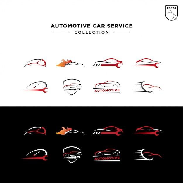 Zestaw logo serwisu samochodowego Premium Wektorów