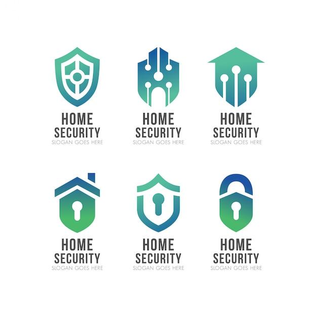 Zestaw logo shield smart home security Premium Wektorów