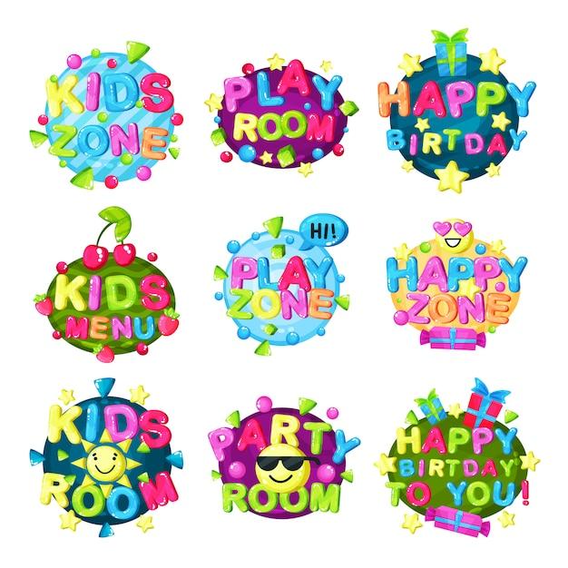 Zestaw Logo Strefy Dla Dzieci, Jasny Kolorowy Emblemat Dla Dziecięcego Placu Zabaw, Pokój Zabaw Dla Dzieci, Obszar Gry I Zabawy Ilustracja Na Białym Tle Premium Wektorów