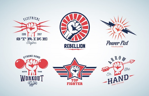 Zestaw Logo Streszczenie Pięści Premium Wektorów