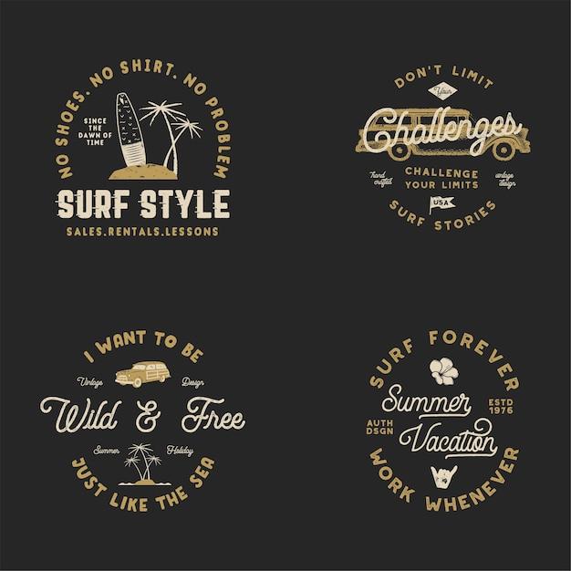 Zestaw Logo Surfingu Premium Wektorów