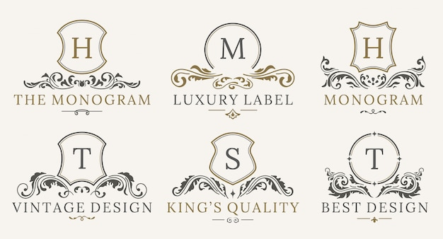 Zestaw logotypów retro royal vintage shields. luksusowy szablon projektu logo Premium Wektorów