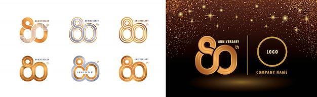 Zestaw Logotypu Z Okazji 80. Rocznicy, Obchody 80-lecia Premium Wektorów