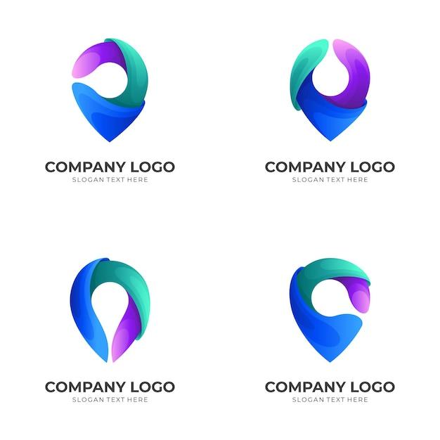 Zestaw Lokalizacji Logo Z Kolorowymi Ikonami Premium Wektorów
