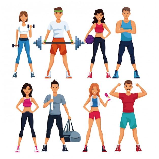 Zestaw ludzi fitness z kolekcji elementów sportu Premium Wektorów