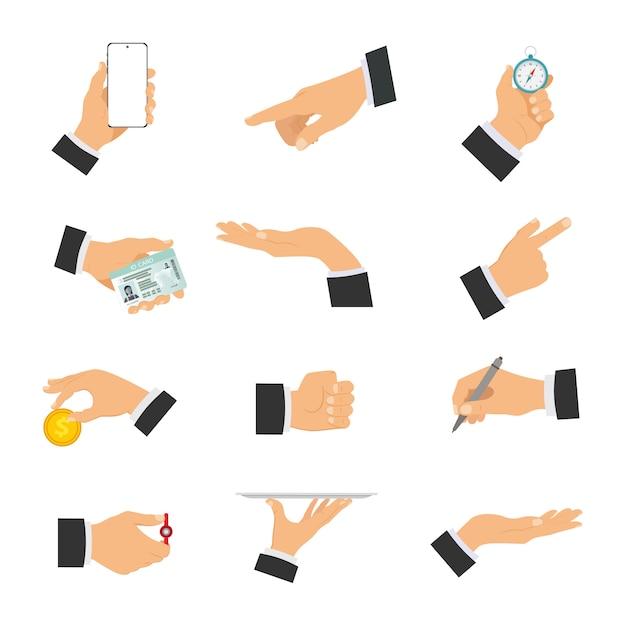 Zestaw Ludzkich Rąk Pokazujących Różne Gesty. Premium Wektorów