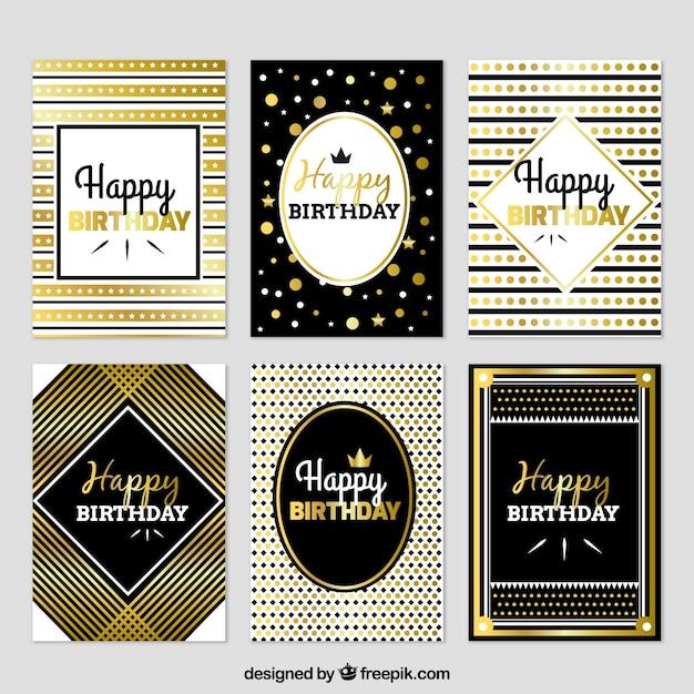 Zestaw Luksusowych Kart Urodzinowych Darmowych Wektorów