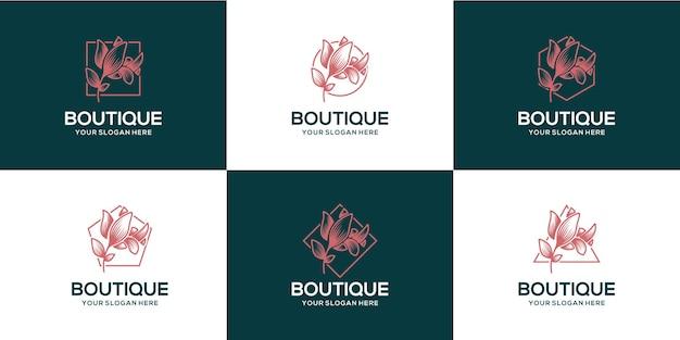 Zestaw Luksusowych Logo Butikowych Kwiatów Premium Wektorów