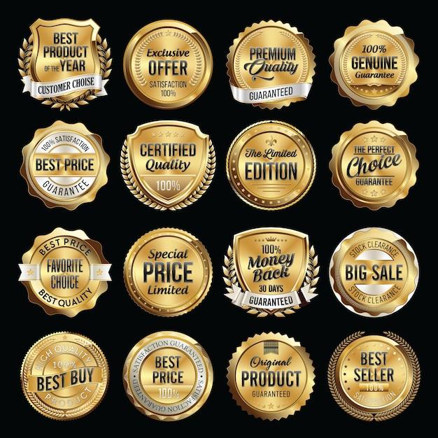 Zestaw Luksusowych Odznak Jakości Sprzedaży. Premium Wektorów