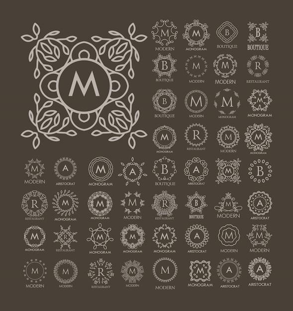 Zestaw luksusowych, prostych i eleganckich wzorów niebieskich monogramów Premium Wektorów