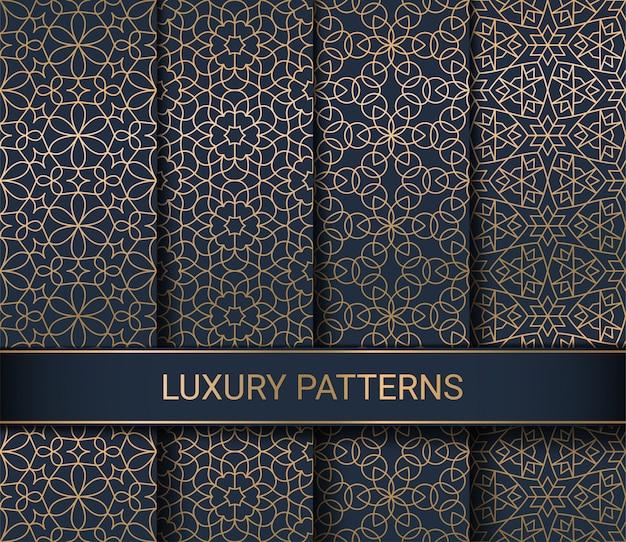 Zestaw Luksusowych Wzorów Bez Szwu Premium Wektorów