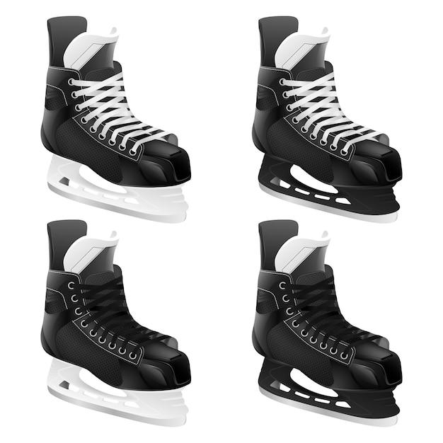 Zestaw łyżew Hokejowych. Premium Wektorów