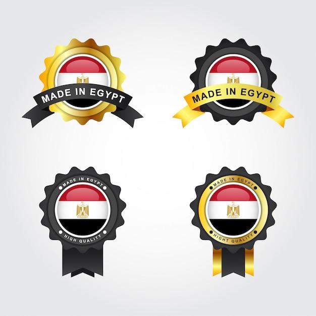 Zestaw Made In Egypt Z Etykietami Na Emblematach Premium Wektorów