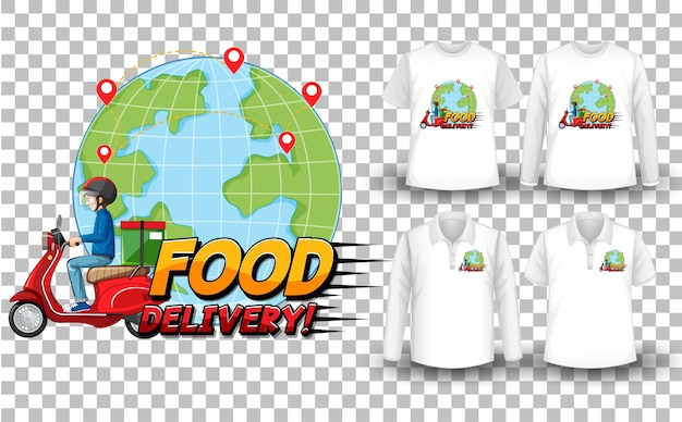 Zestaw Makiet Koszulki Z Motywem Dostawy Darmowych Wektorów