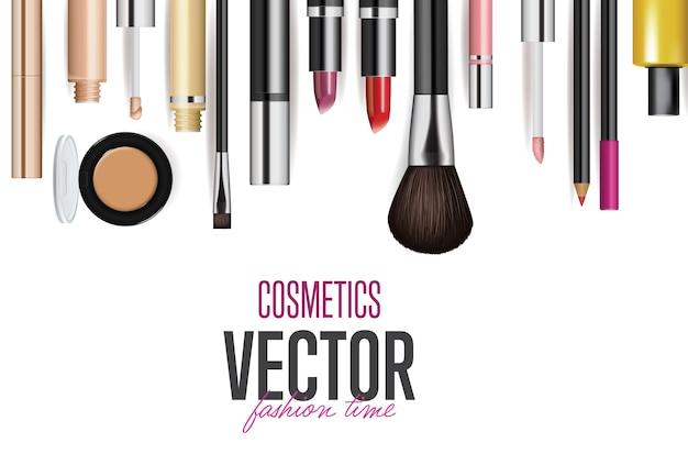 Zestaw makiet realistycznych narzędzi kosmetycznych Premium Wektorów