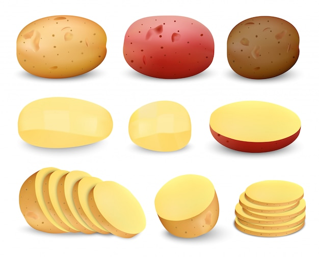 Zestaw makiet smażone ziemniaki Premium Wektorów