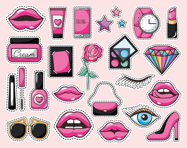 Zestaw makijażu ikony stylu pop-art Darmowych Wektorów
