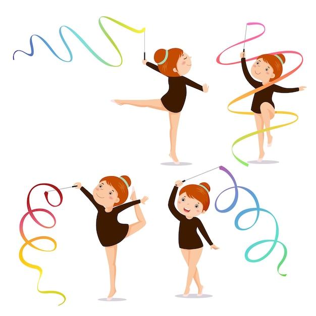 Zestaw Mała Dziewczynka Gimnastyczka ćwiczenia Ze Wstążką Premium Wektorów