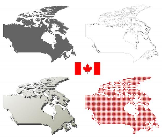 Zestaw Map Wektorowych Zarys Kanada Premium Wektorów