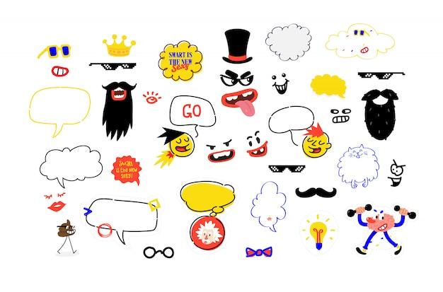 Zestaw masek na imprezy. fikcyjna ilustracja wąsów, okularów i akcesoriów na imprezę. ilustracji wektorowych. Premium Wektorów