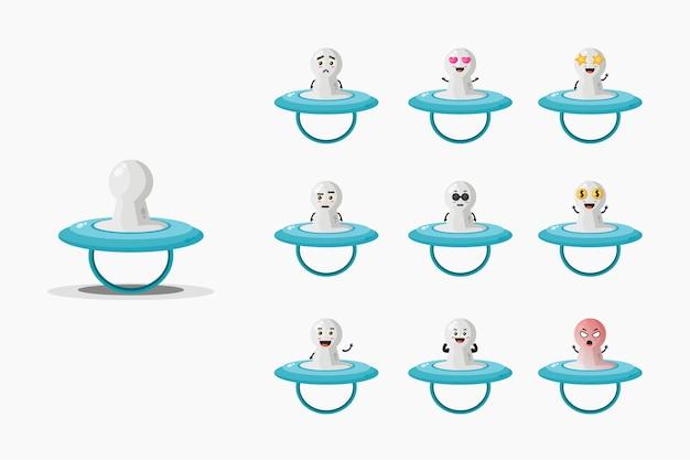 Zestaw Maskotek Cute Baby Niple Premium Wektorów