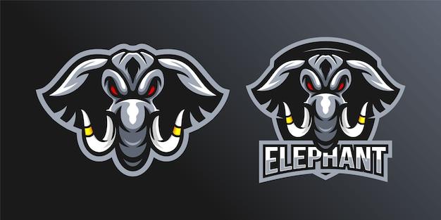Zestaw Maskotka Logo Głowa Słonia Premium Wektorów